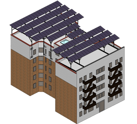 Rendering of a building with solar panels on the roof